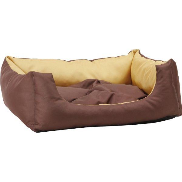 Pelech pro psa obdélníkový s polštářem - žlutý - 45 x 35 x 18 cm