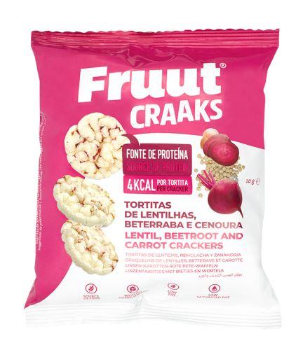 Fruut Čočkové krekry spříchutí červené řepy a mrkve 20 g