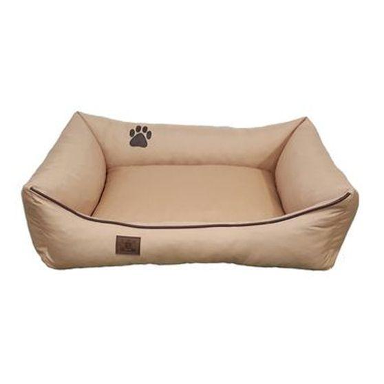 Pelech pro psa obdélníkový - snímatelný potah z polyesteru - béžový - 80 x 65 cm
